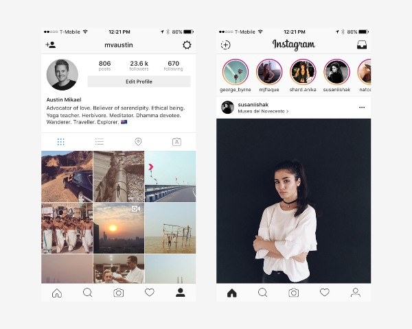 Instagram 's Minimalist App design that allows content to become the hero.