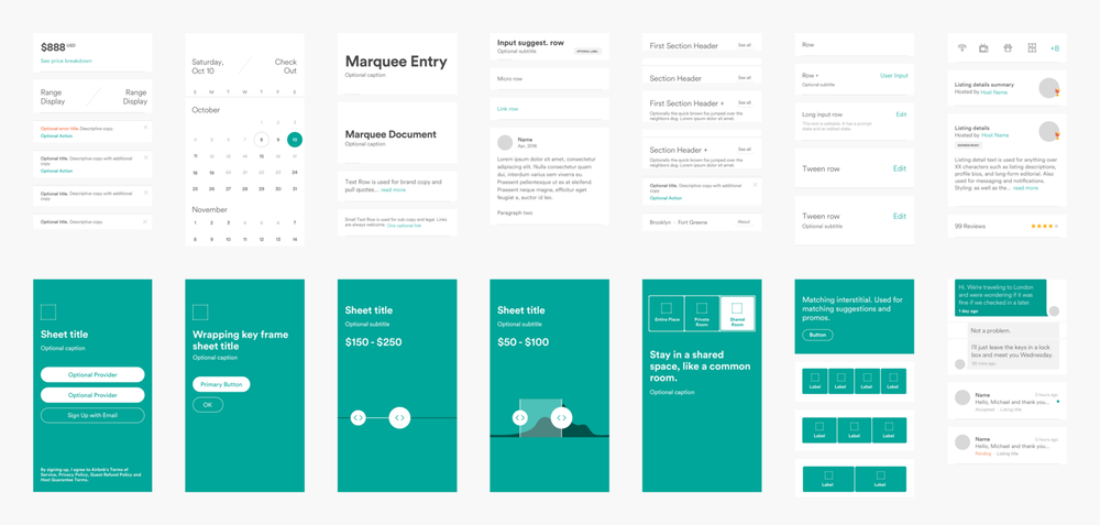 The pattern library for  Airbnb 's minimalist approach to App design.