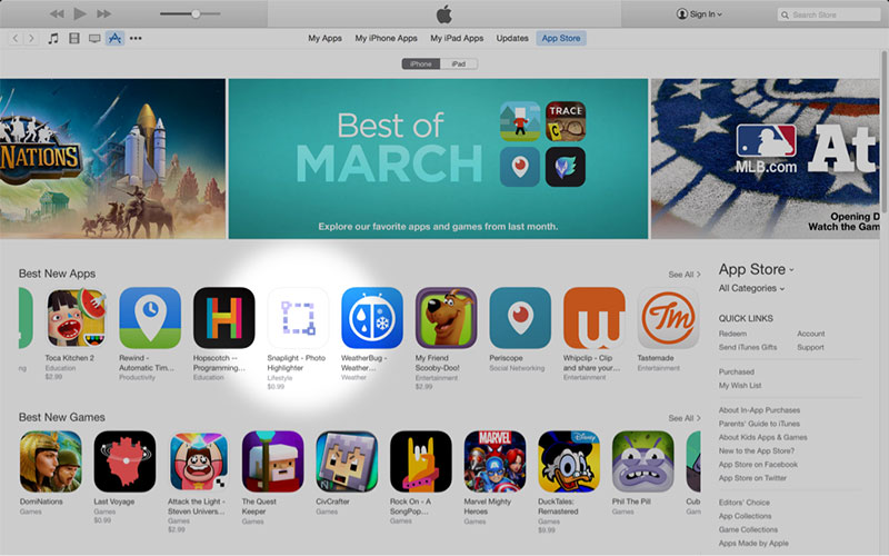 Snaplight featured as a Best New App in the App Store