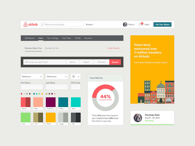 Sample of AirBnb's Design System