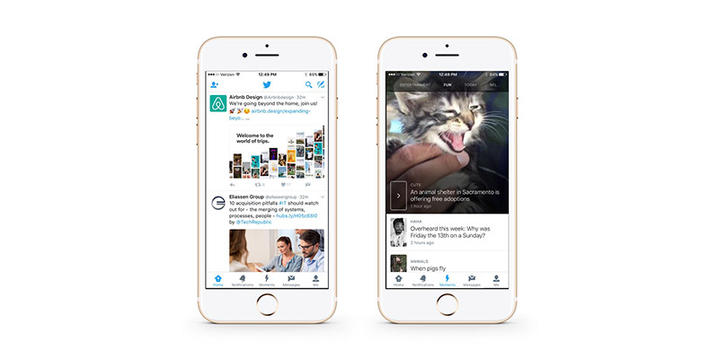 Twitter's mobile app, view of Home (left) and Moments (right)
