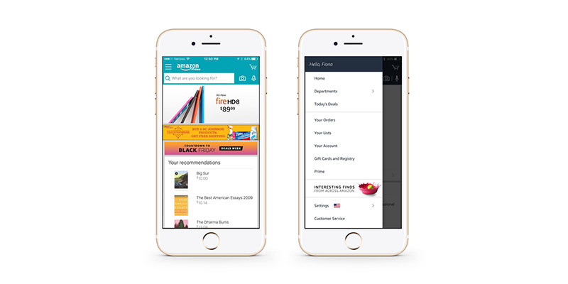 Amazon's mobile app, with hamburger menu closed and expanded