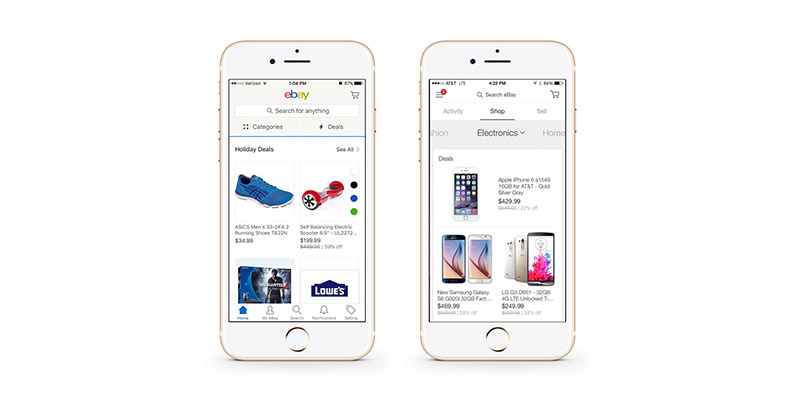eBay's current mobile app (left) features tabbed navigation, a move away from the hamburger menu, as seen in their 4.0 app (right)