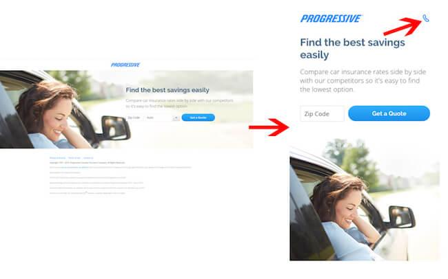 Progressive Insurance's landing page