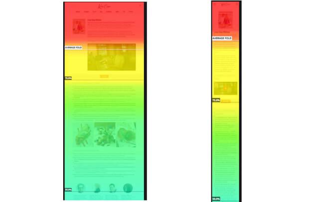 Heatmaps showing desktop versus mobile scrolling patterns
