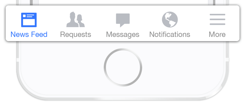 Facebook bottom tab bar for iOS