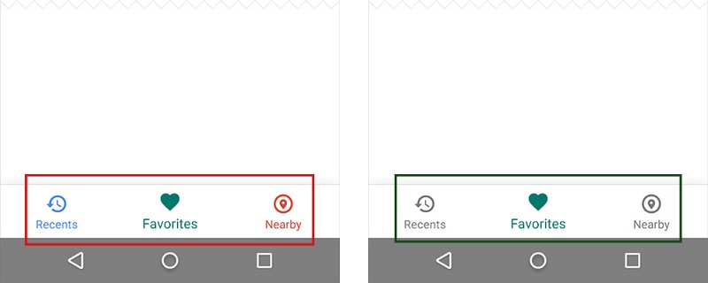 Left: Different colored icons makes your app look like a christmas tree. Right: Use only one primary color insead.