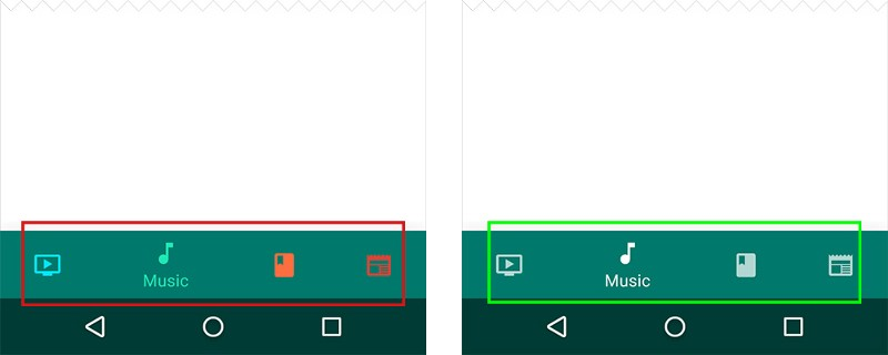 Left: Avoid pairing colored icons with a colored bottom navigation bar. Right: Use black or white iconography.
