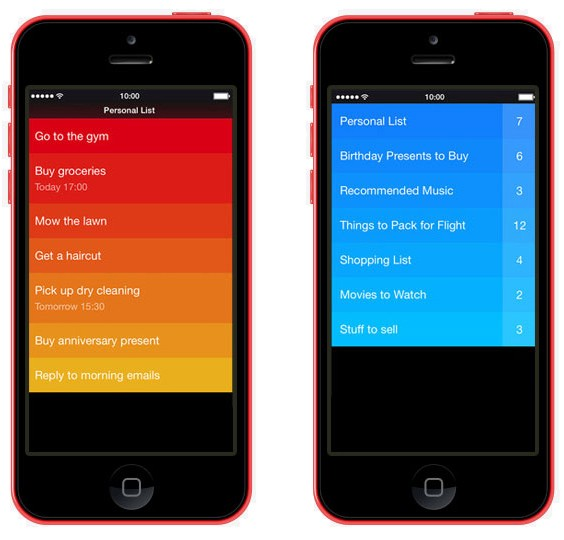 Clear app for iOS use analogous color scheme to visually prioritize tasks.