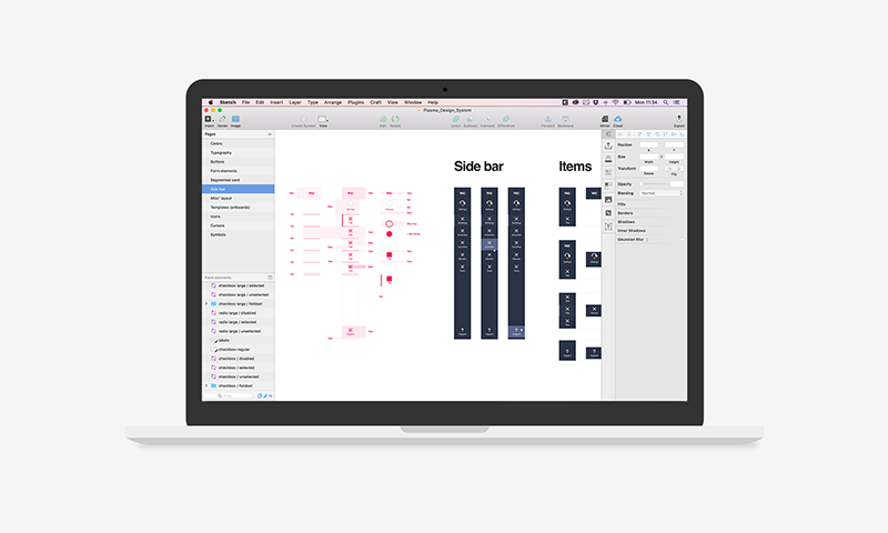 The design system (and assets for the documentation) in progress in Sketch