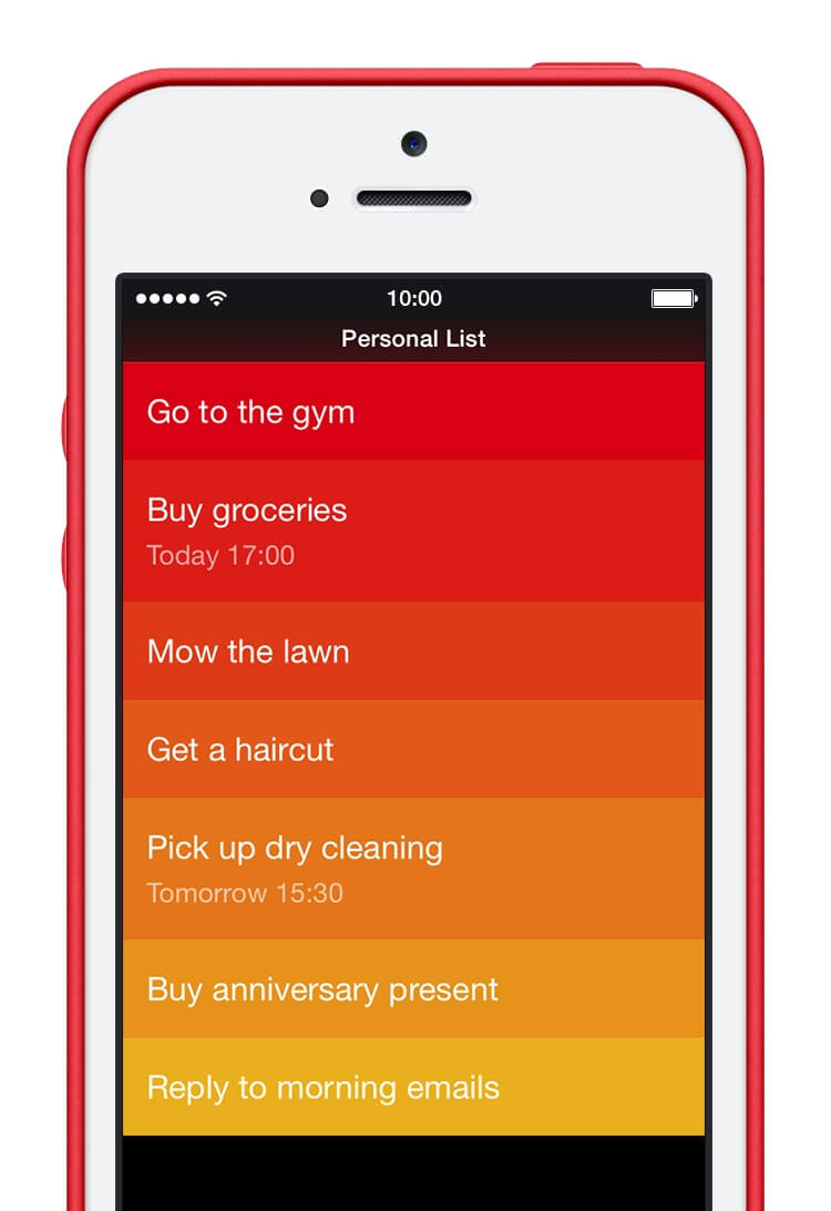 The default color scheme in Clear is reminiscent of a heat map, where the hotter items are displayed in bright red.