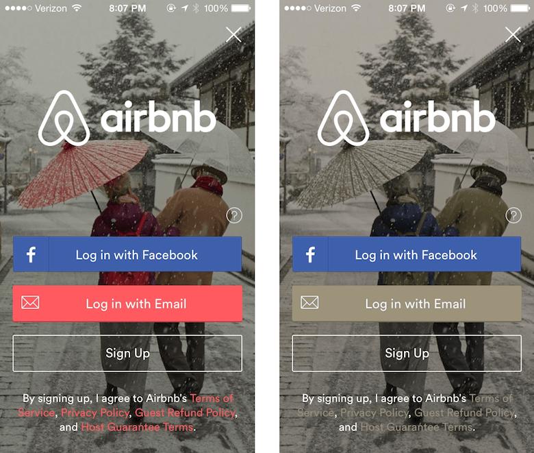 Airbnb app login screen Image credit: Pinterest .