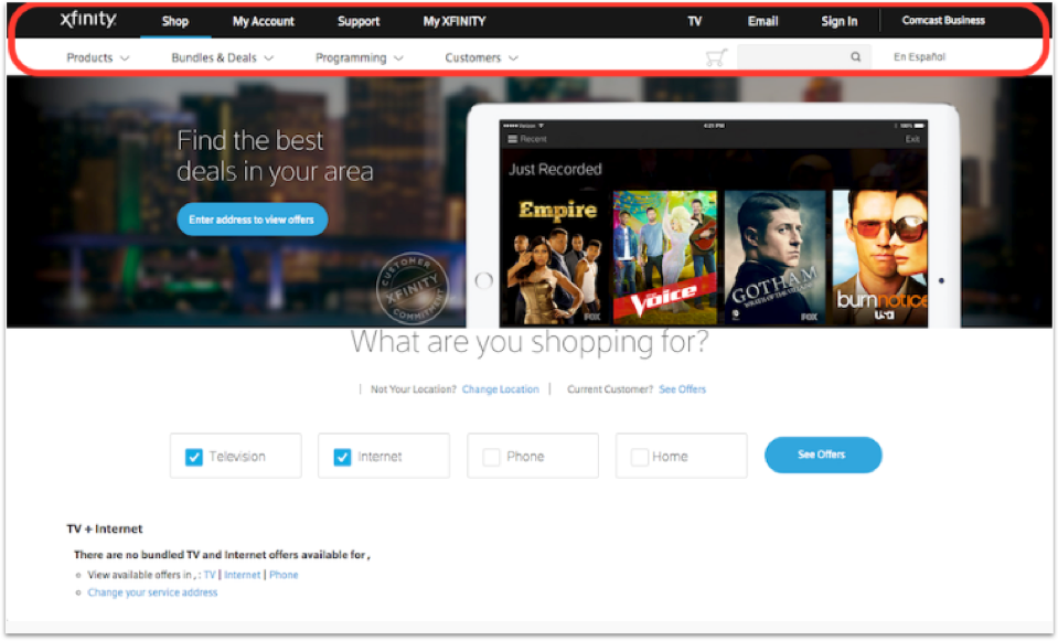 Xfinity Home Page