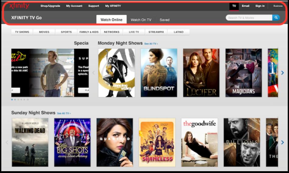 Xfinity TV Page