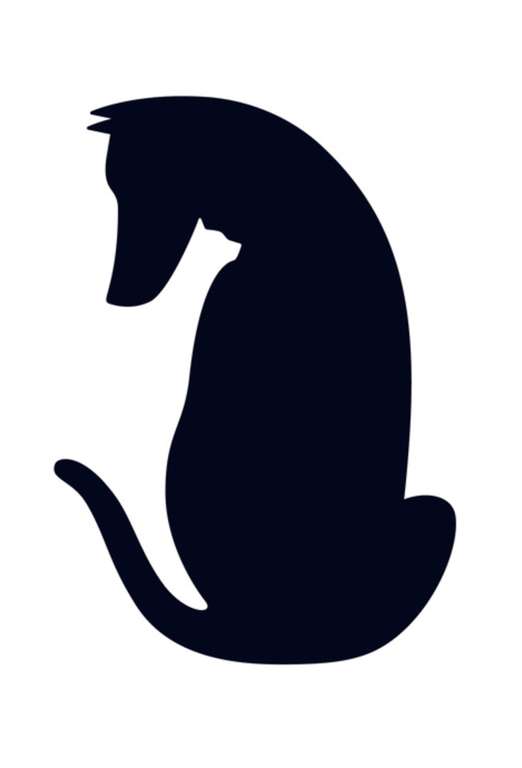 Positive space = Dog. Negative Space = Cat.
