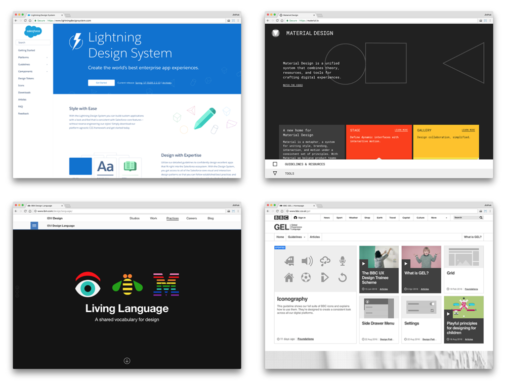 These are the golden standards of design systems: Salesforce's Lightning Design System, Google's Material Design, IBM's Living Language, and the BBC's GEL.