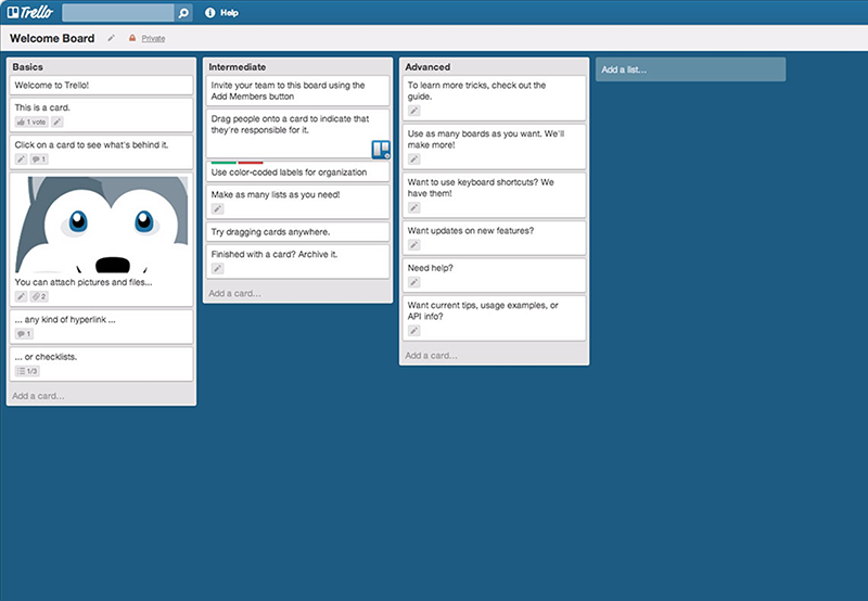Trello uses cards to introduce features in a simple way