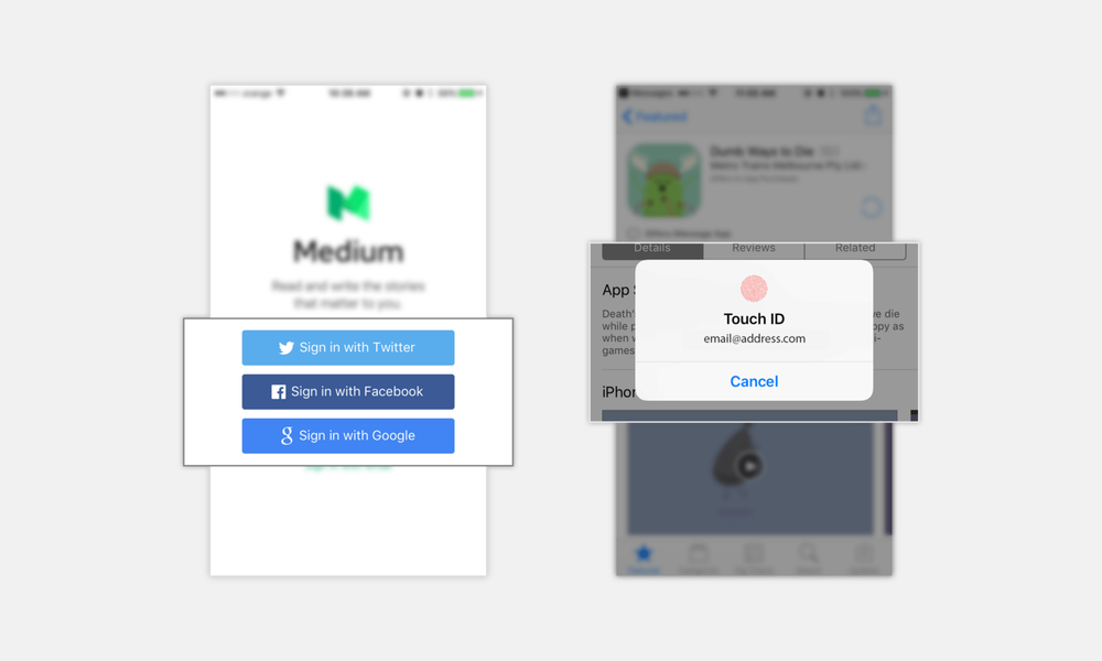Examples from Medium and the App Store