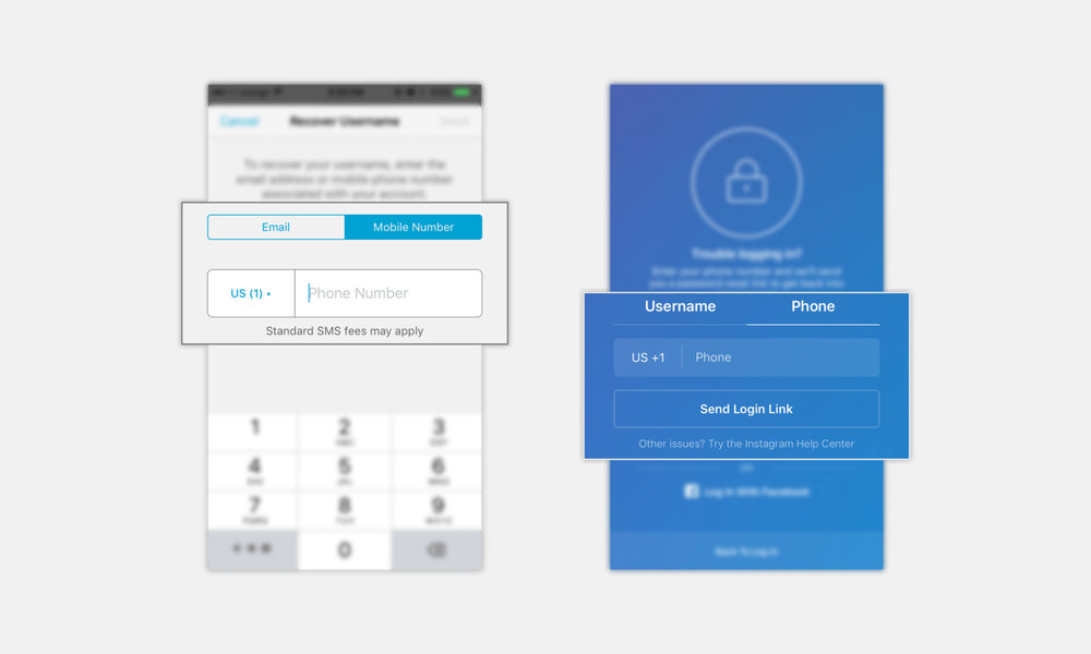 Examples from Mailchimp and Instagram
