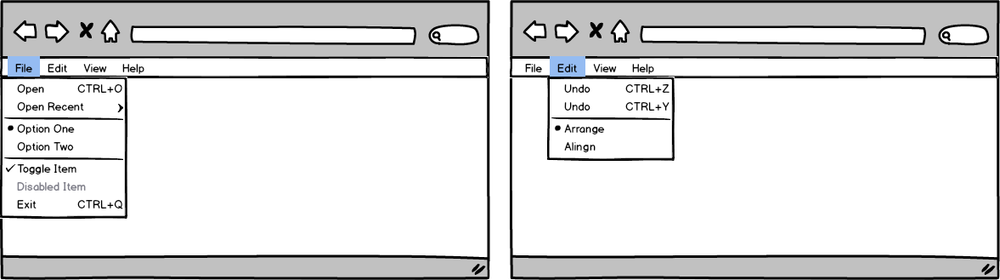 Undo and Redo actions with quick exit option on the menu bar
