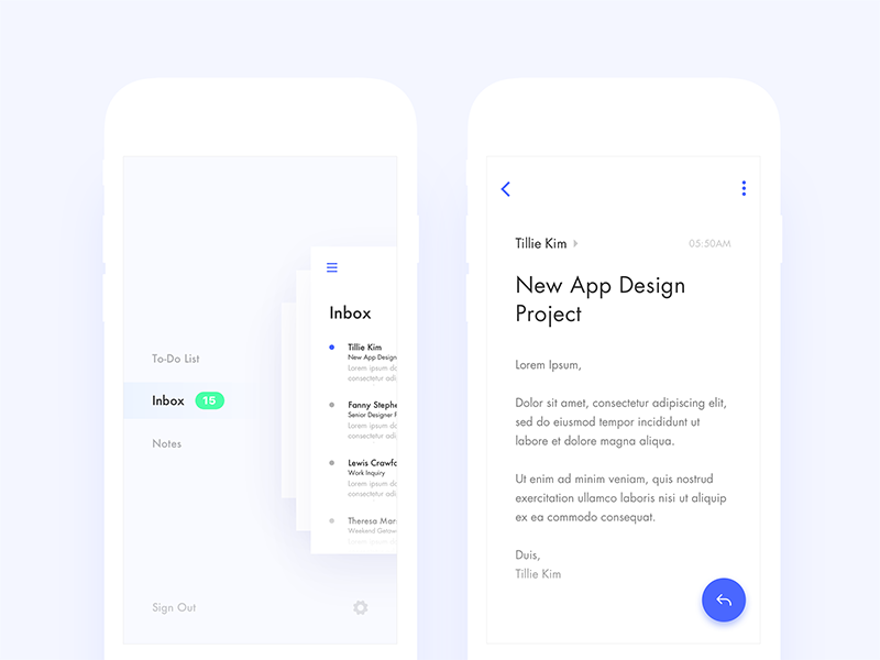 Productivity App — Side Menu & Mail View — WIP by Nimasha Perera
