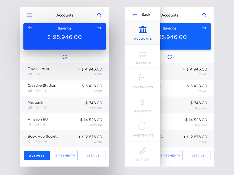 Banking App Account Ui by Daniel Tan