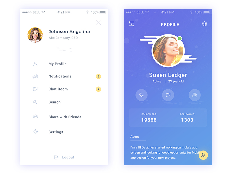 Sidemenu Daily UI by Creative jeff