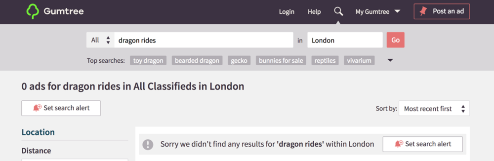 Gumtree strongly promote the user's ability to search alerts on 'no results found' pages.