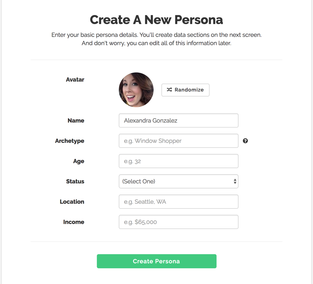 Create a Persona, UserForge