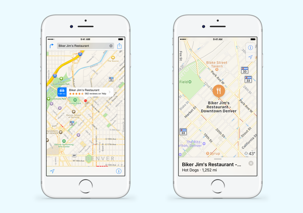 Apple Maps changes from iOS 9 (left) to iOS 10 (right). The UI is almost entirely inverted. Map Settings and Lock to Current Location are harder to reach, while Search and Results are prioritized.