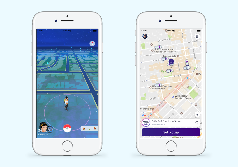 Pokémon Go and Lyft employ Reach Navigation.