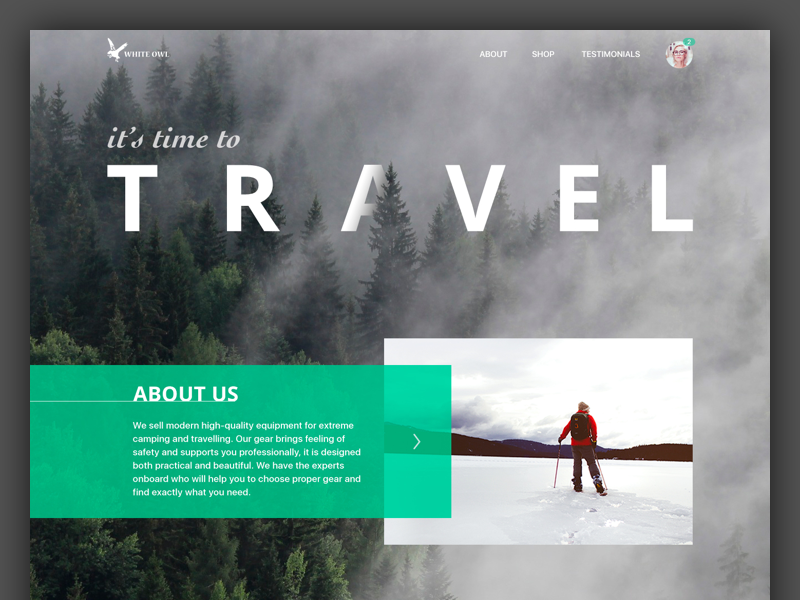 Travel Gear Landing Page