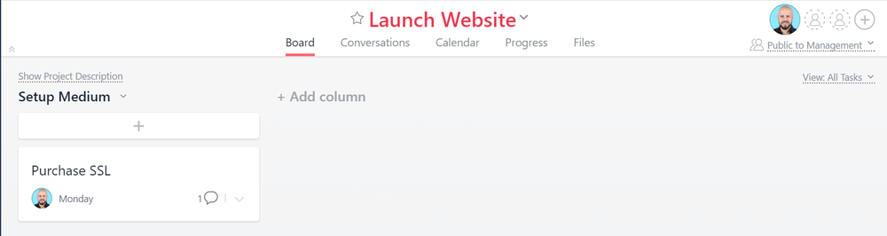 Asana screenshot — Project layout
