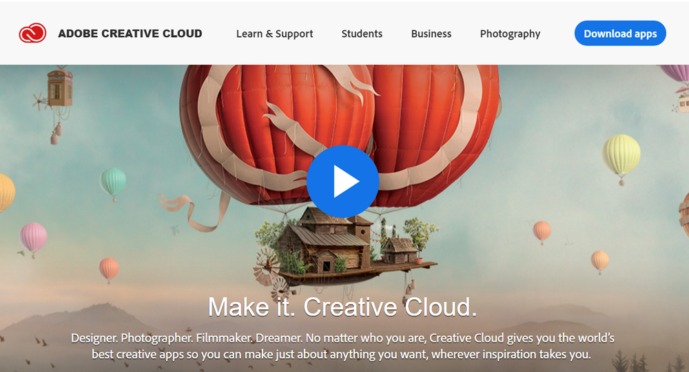 Adobe Creative Cloud Website