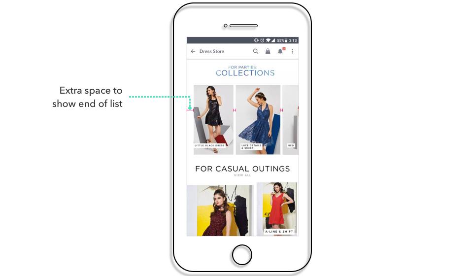 Screenshots from Myntra app