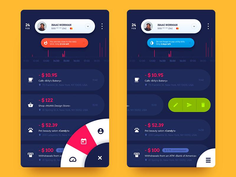UI design of some screens for Home Budget App