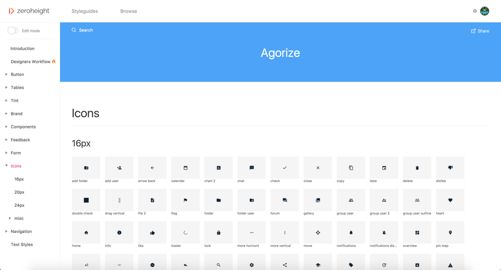 Icons in our auto-generated styleguide on Zeroheight.com