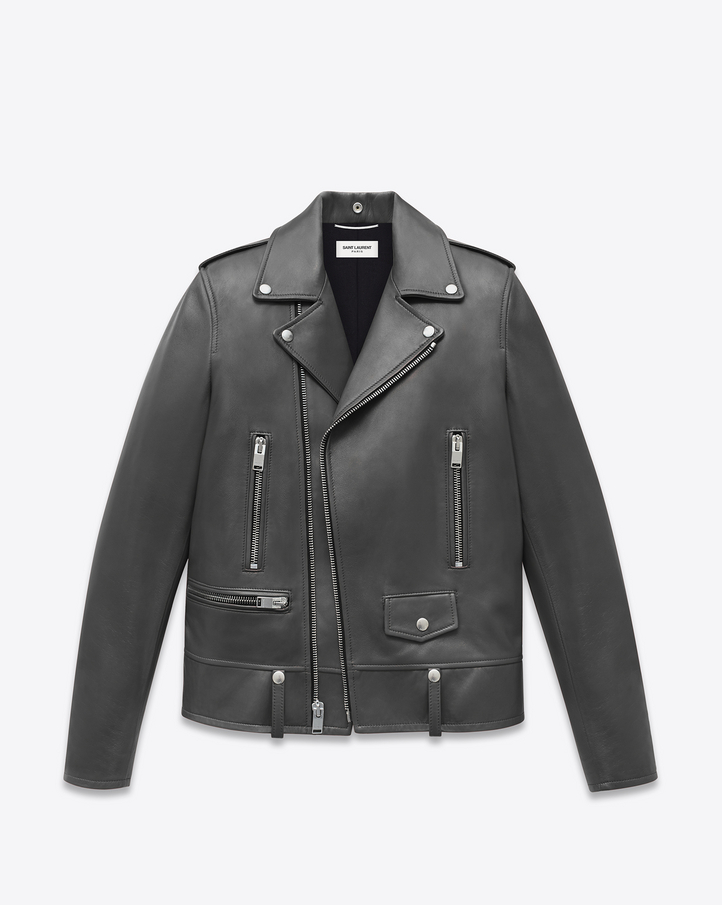 Saint Laurent Classic Motorcycle Jacket in Grey Lambskin. Photo by Saint Laurent