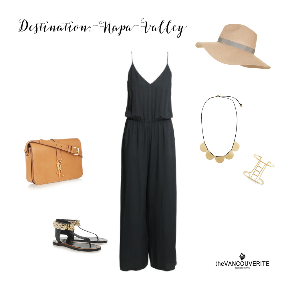 Jump Suit: H&M, Sandals: Isabel Marant, Bag: Saint Laurent, Hat: Topshop, Necklace & Cuff: Scosha.