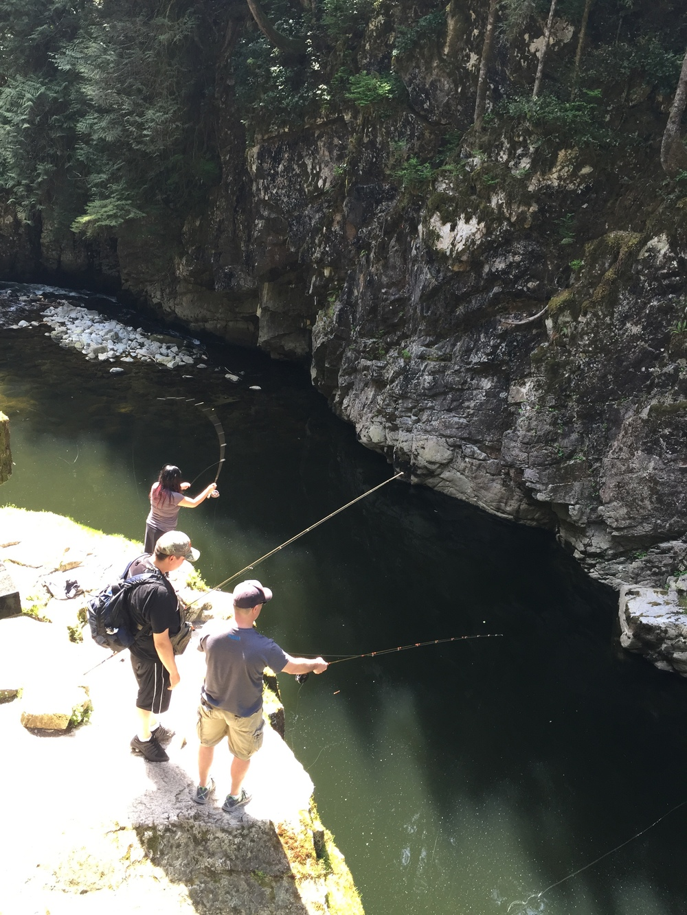 A few guys going some fly fishing. We did spot one salmon swimming around nearby but the time to do it is October and November when they're so plentiful that you could literally catch them with your bare hands on the side of the river!  Photo: The Vancouverite