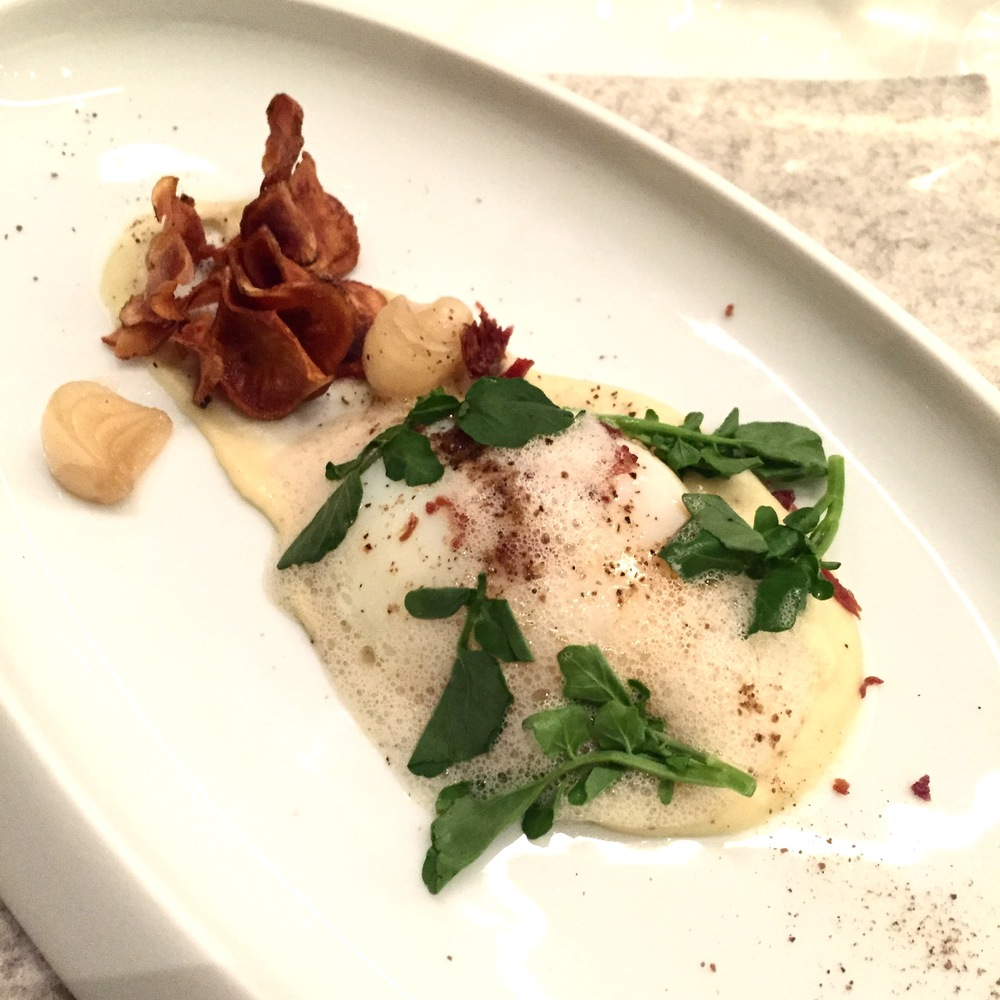 The Onsen Egg with Jerusalem Artichoke and Parma Ham. Photo: The Vancouverite