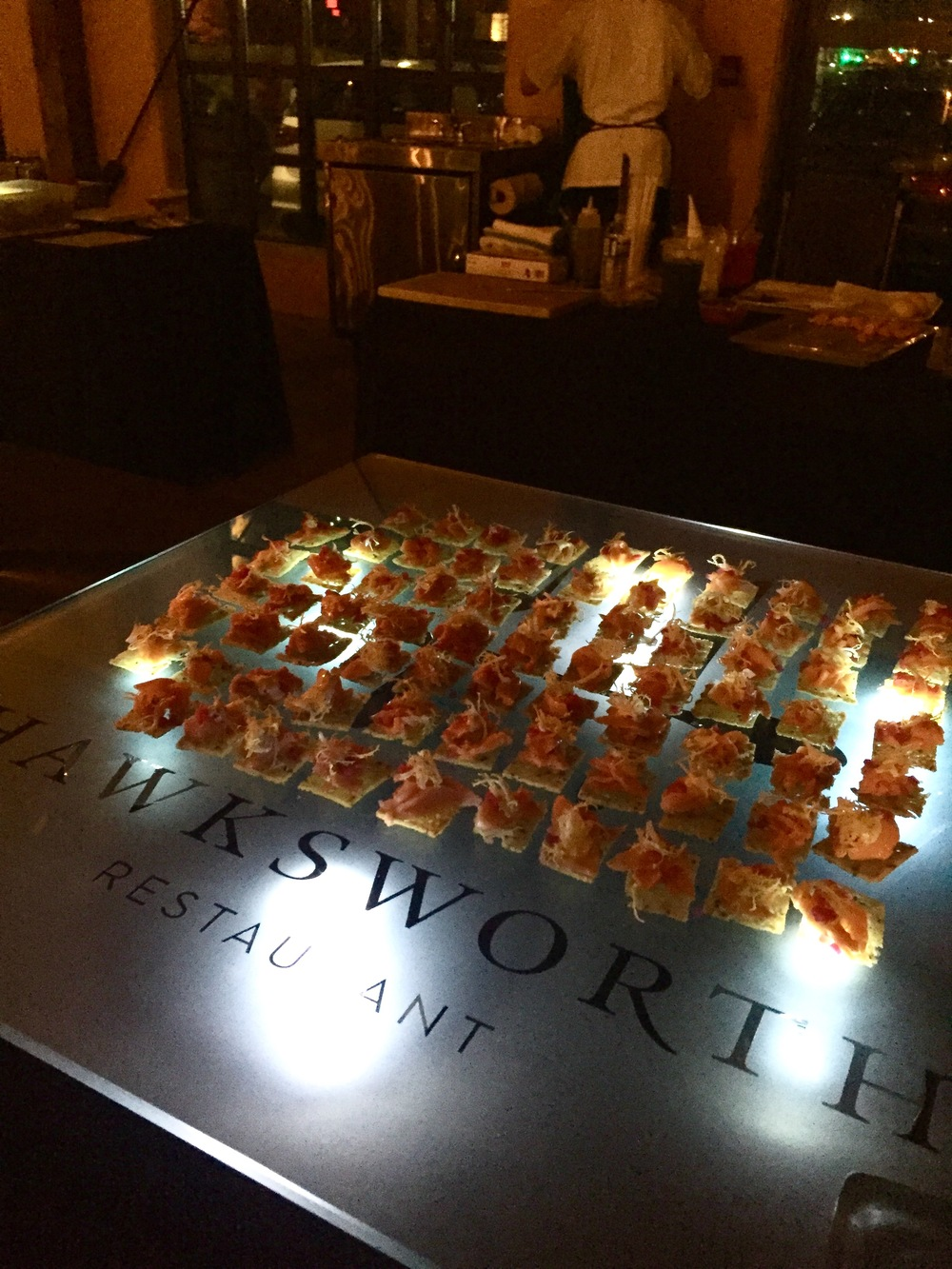 Restaurants like Hawksworth were serving amazing canapés throughout the evening.