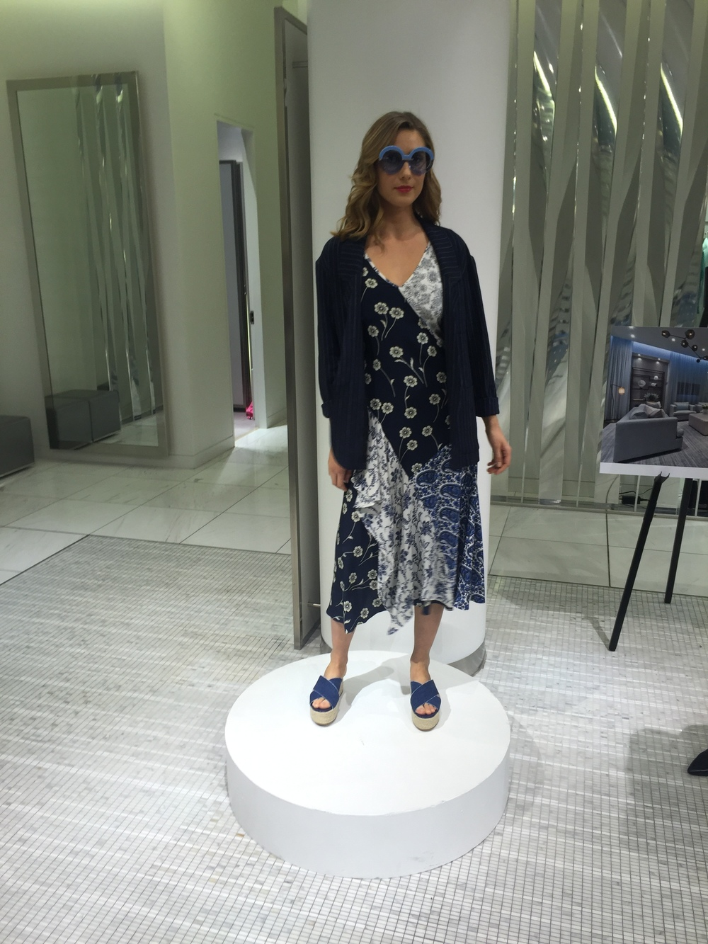 dress, DEREK LAM. jacket, SMYTHE. shoes, PRADA. sunnies, KAREN WALKER