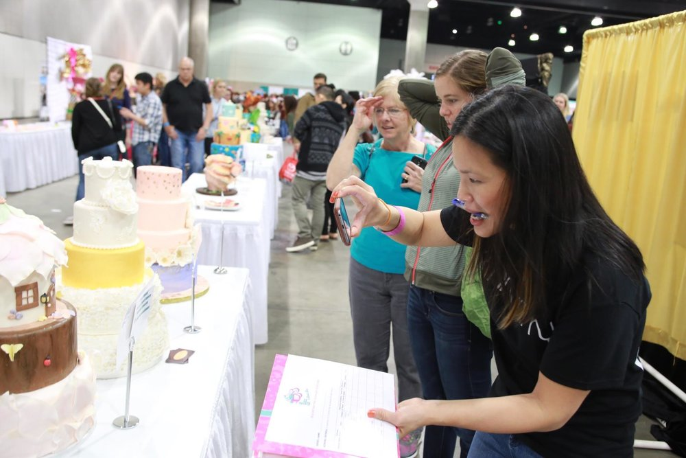 Ho judging the delectables at the LA Cookie Con