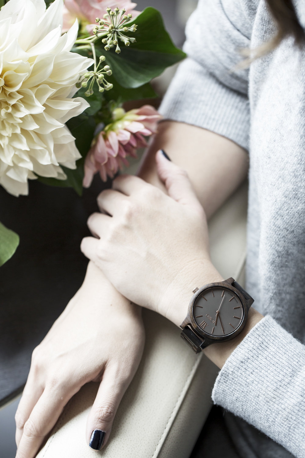 My beautiful FRANKIE watch by JORD, made of sandalwood. Photo: Airisa Photography, Flowers: The Flower Factory, Shot on location at the Fairmont Pacific Rim Hotel.