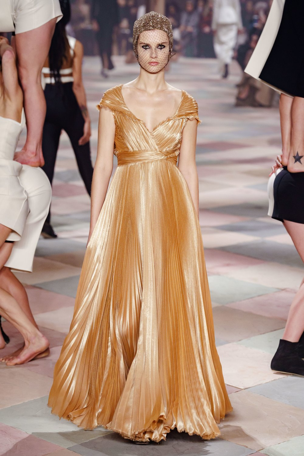 Dior Long Gold Pleated Gown.jpg