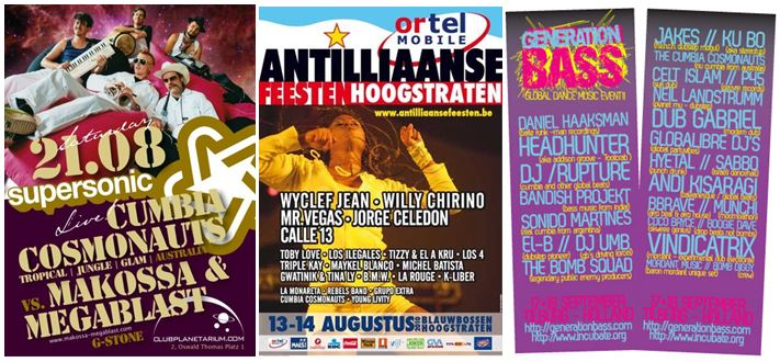 selection of flyers from 500% Cumbia Europe Tour 2010...