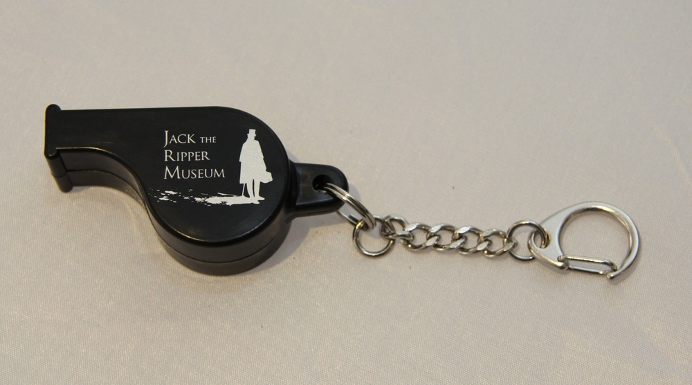A whistle with Jack the Ripper branding on offered for sale at the museum.