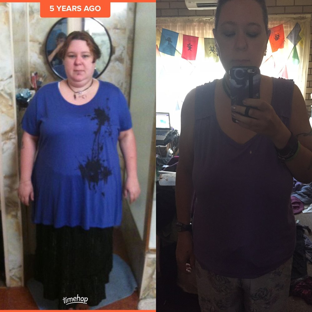 A now and then photo of myself 5 years ago and at my last weigh in.