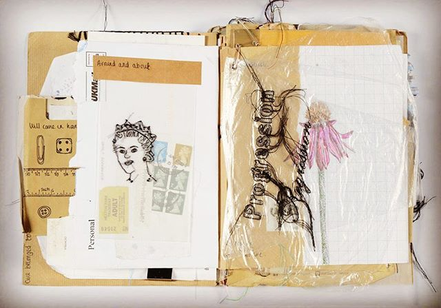 Picture of my sketchbooks. I received lots of compliments on my sketchbooks whilst exhibiting at the Knitting and Stitching shows. I love sketchbooks and the process for me is just as important as the end result. It tells a story without words. Each page is made from found materials and These relate to my ideas so they form narrative. I constantly restructure the pages adding, removing and rejigging as I go so they work together as a whole and still tell a story.  #sketchbook #journal #junkjournal #process #stitching #embroidery #handstitch #textiles #textileart #textileartist #pages #paper #recycling #reuse #bookbinding #book
